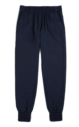Medium mother of pearl navy rhea light wool crepe jogger pants