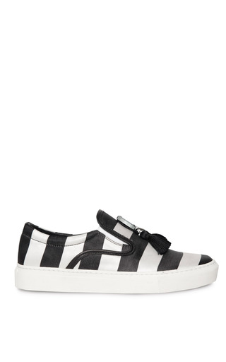 Medium mother of pearl stripe achilles satin stripe slip on sneakers with tassels