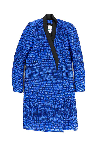 Medium kenzo blue reptile lurex jacquard coat