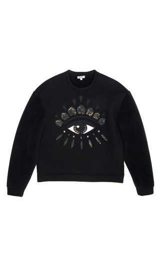 Medium kenzo black fleece lined neoprene sweatshirt with lotus eye