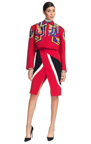 Medium peter pilotto purple scarlet cropped jacket