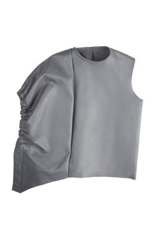 Medium j w anderson dark grey balloon sleeve top in grey leather