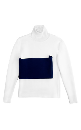 Medium j w anderson navy banded roll neck top in navy