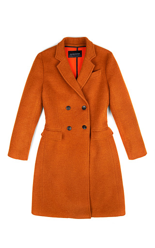Medium jonathan saunders orange inez doubleface wool coat