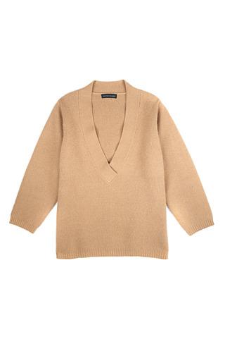 Medium jonathan saunders tan poppy v neck sweater in tea tan