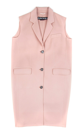 Medium rochas pink doubleface wool angora sleeveless coat