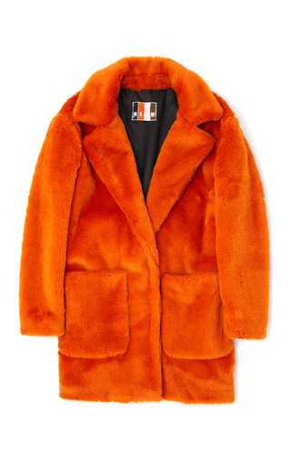 Medium msgm orange orange eco fur coat