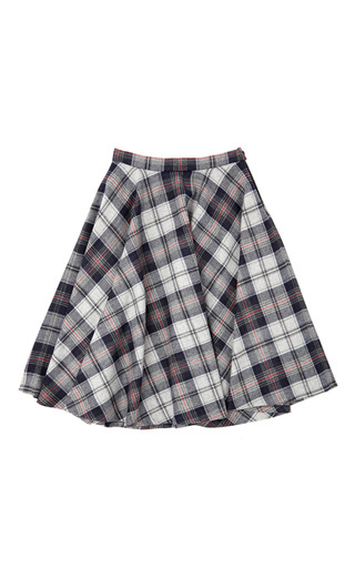 Medium msgm orange wool check circle skirt
