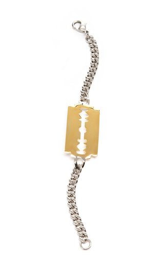Medium tom binns metallic id bracelet with gold plated razor blade