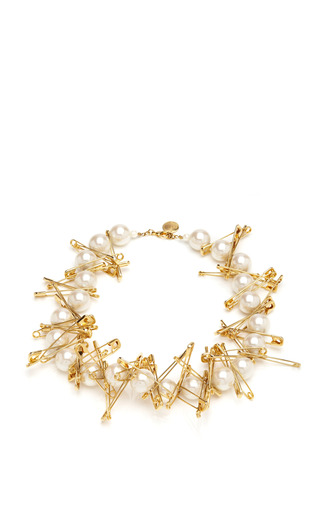 Pearl Necklace With Large Safety Pins by TOM BINNS Now Available on Moda Operandi