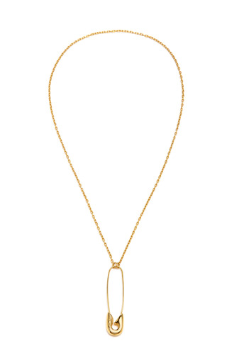 Medium tom binns gold gold plated large safety pin pendant necklace