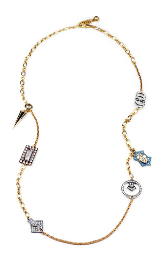 Medium lulu frost blue nova messenger necklace