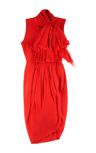Medium giambattista valli coral garza seta dress with bow