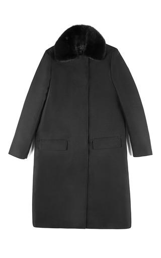 Medium giambattista valli black tecnico misto closed collar coat
