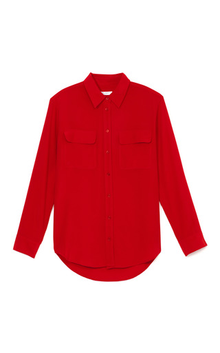 Medium equipment red bright red signature blouse