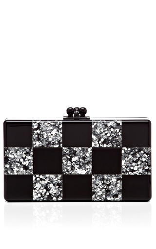 Medium edie parker silver black and silver confetti checkerboard clutch