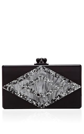 Medium edie parker black black acrylic jean clutch with silver confetti diamond decal