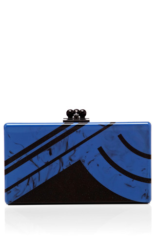 Medium edie parker yellow lapis jean clutch with obsidian sand abstractions