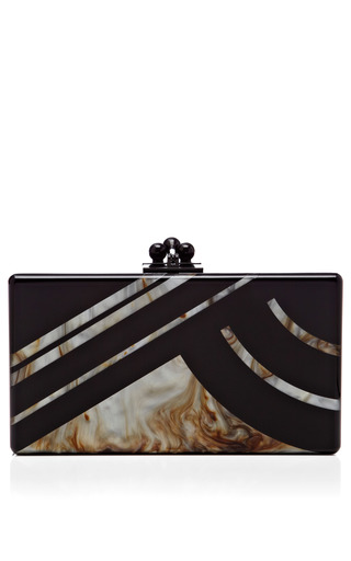 Medium edie parker black black acrylic jean clutch with new mica abstractions