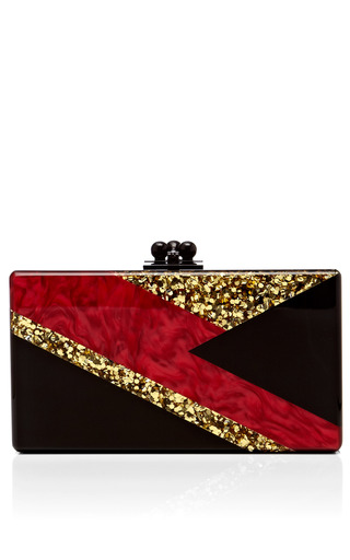 Medium edie parker gold black acrylic jean clutch with red pearlescent and gold confetti bolt decal