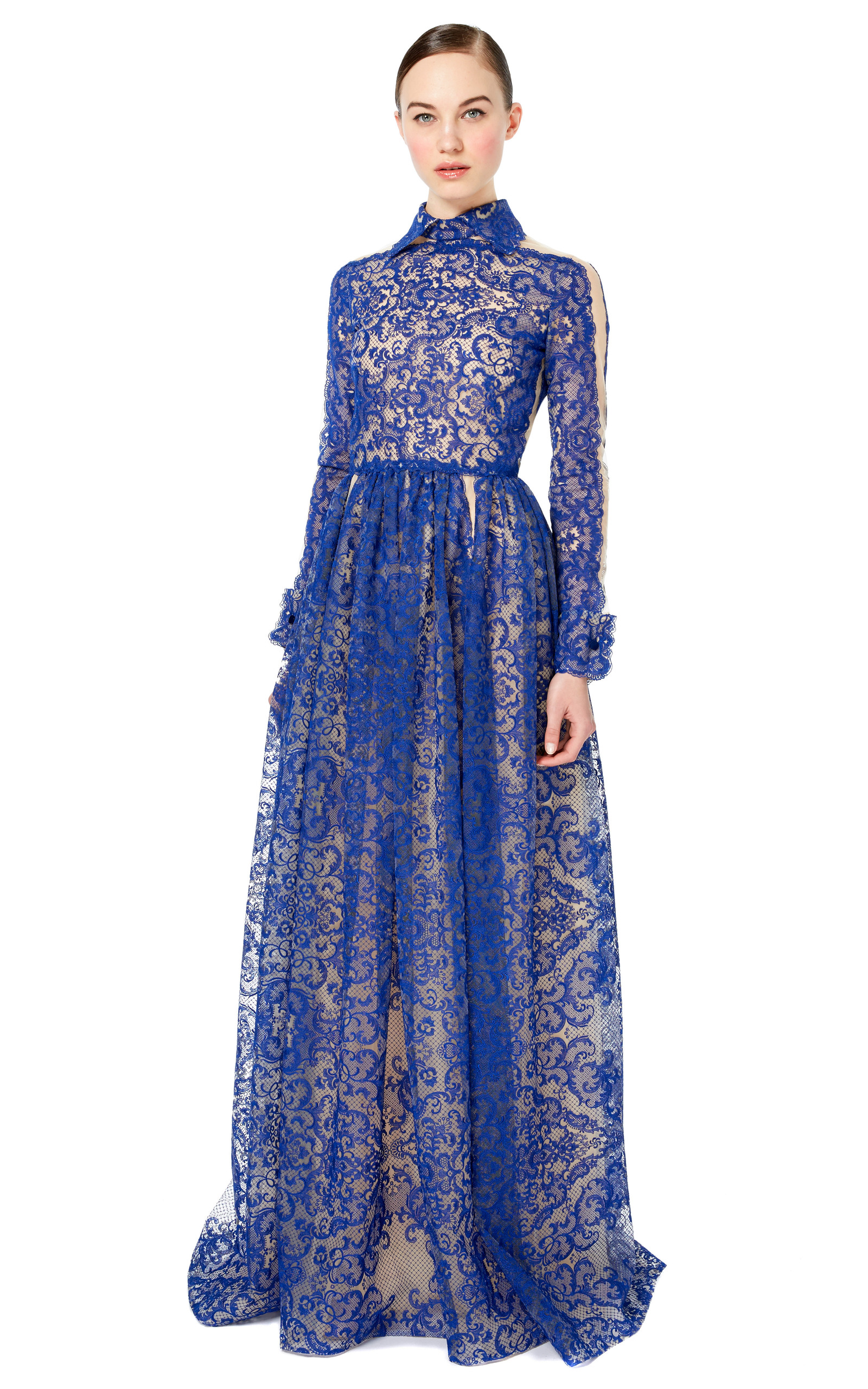 Lace Embroidered Gown With Collar by Valentino | Moda Operandi