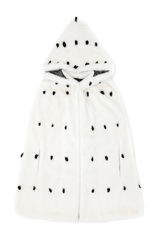 Medium valentino white mink and ermine hooded cape