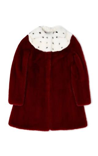 Medium valentino red mink coat with inlaid neck