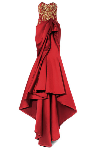 Medium marchesa purple strapless embroidered duchess satin gown