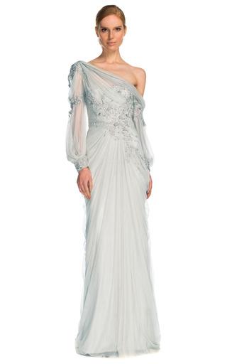Medium marchesa silver drop shoulder tulle gown