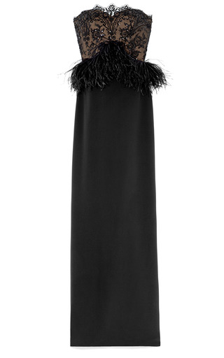 Medium marchesa black crepe column gown with re embroidered lace bodice