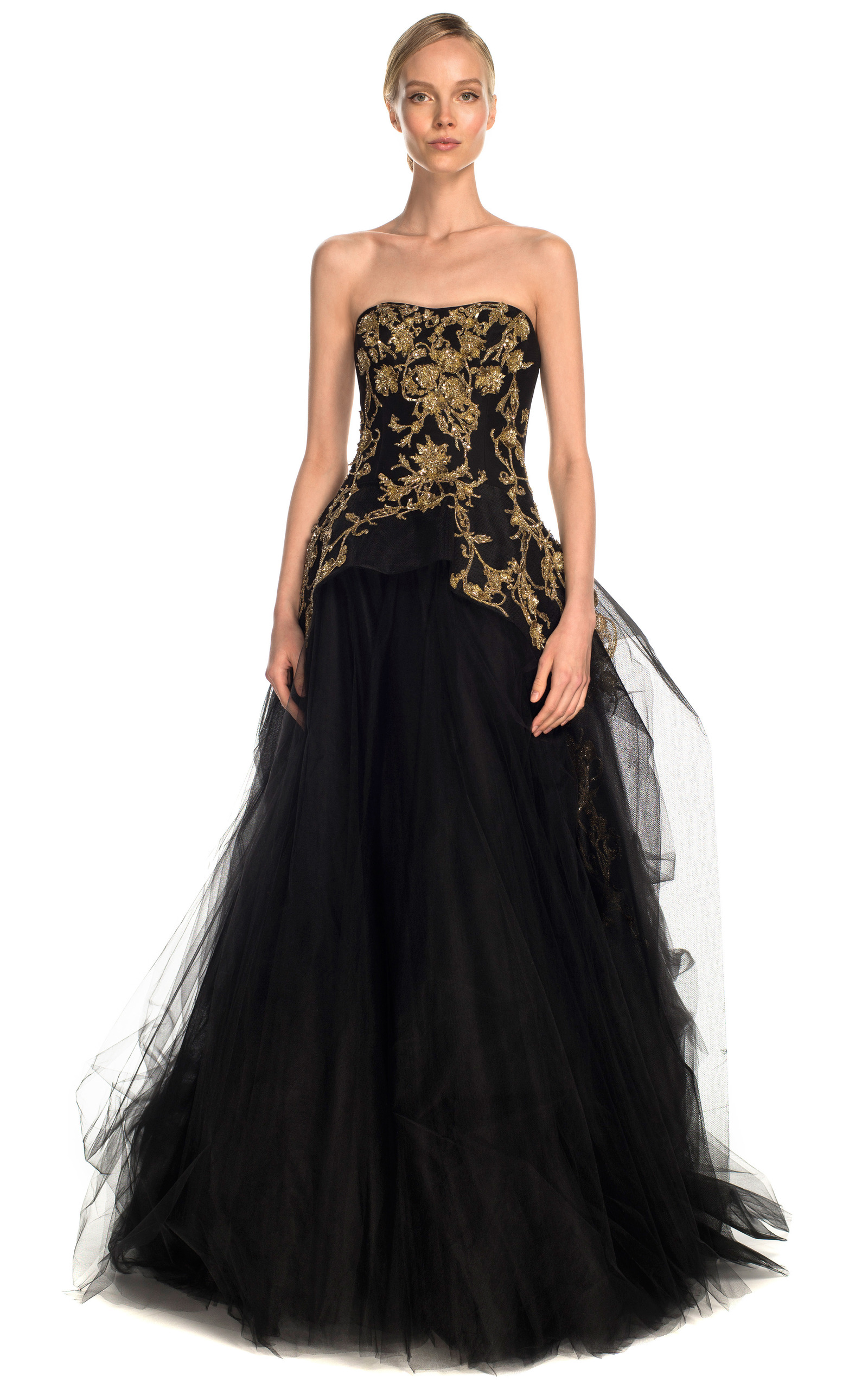 Tulle Ball Gown With Structured Bodice By Marchesa Moda