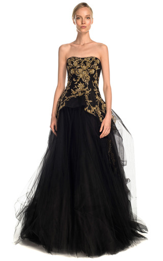 Medium marchesa black tulle ball gown with structured bodice