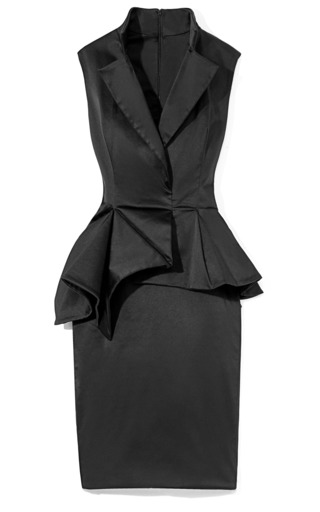 Medium marchesa black duchess satin sleeveless cocktail dress