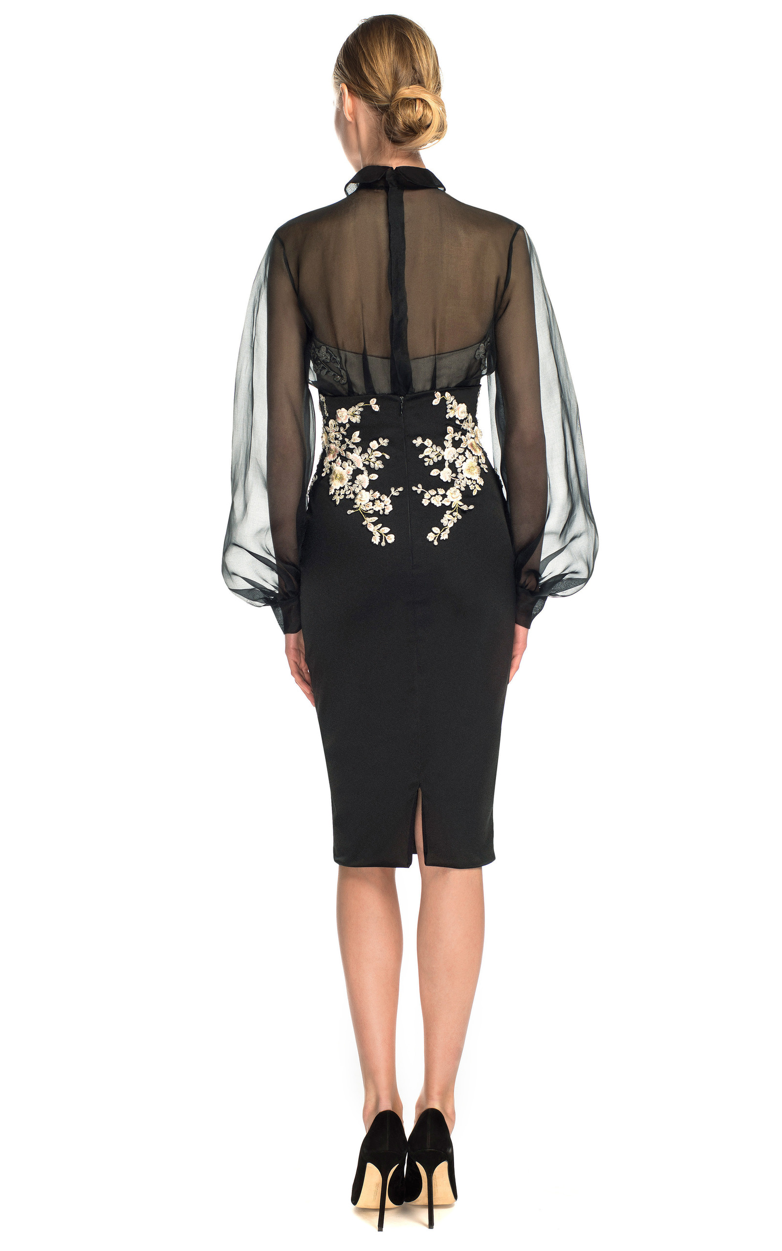 Duchess Satin Cocktail Dress With Organza Sleeves By