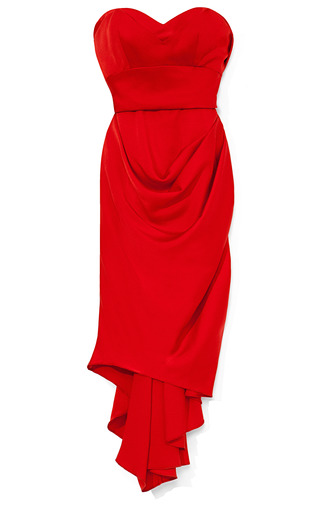 Medium marchesa red strapless crepe cocktail dress