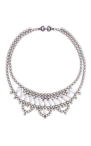 Medium tom binns white carte blanche medium scallop milk white crystal necklace