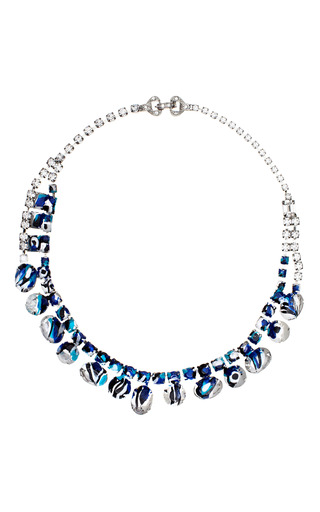 Medium tom binns blue painted white asymmetric crystal necklace