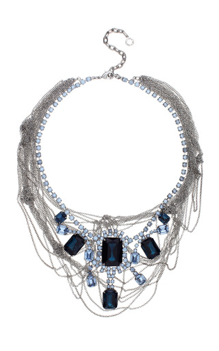 Fettered Faux Large Sapphire Necklace With Tangled Chains by TOM BINNS for Preorder on Moda Operandi