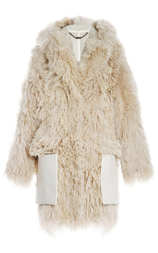 Medium loewe brown oversized shearling and leather coat