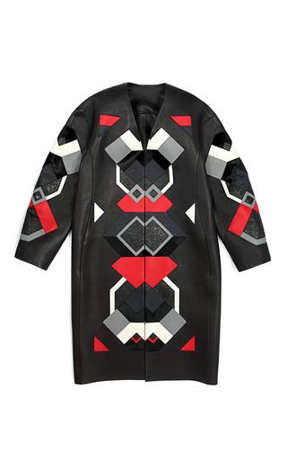 Medium loewe black black and poppy leather patchwork coat