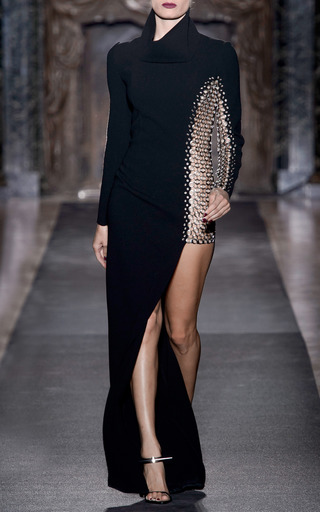 Medium anthony vaccarello silver long sleeve bonded crepe and macrame grommet gown