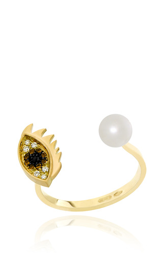 Medium delfina delettrez gold cartoon eye and pearl ring
