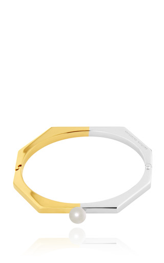 Medium delfina delettrez silver full moon bracelet in silver and gold with pearl