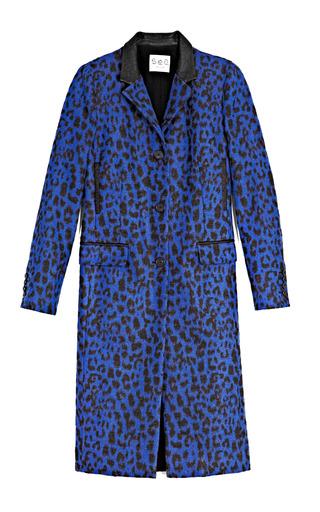 Medium sea black felted leopard crepe coat in cobalt
