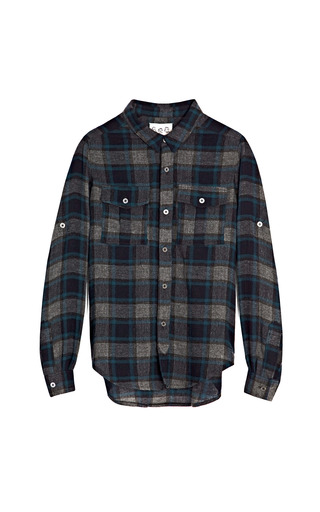 Medium sea dark grey baby wool flannel plaid shirt