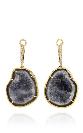 Medium kimberly mcdonald blue dark geode and diamond top lever black earrings in 18k yellow gold