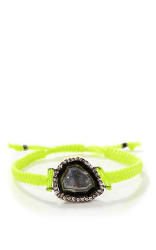 Medium kimberly mcdonald yellow geode and diamond on neon yellow macrame bracelet in 18k white gold