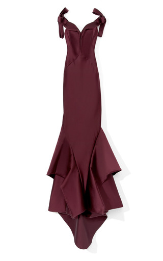 Medium zac posen red bordeaux stretch duchess gown
