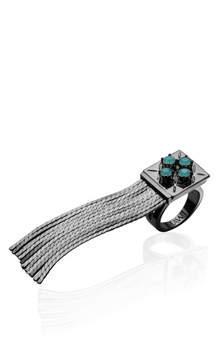 Medium mawi silver hematite plated flapper fringe ring