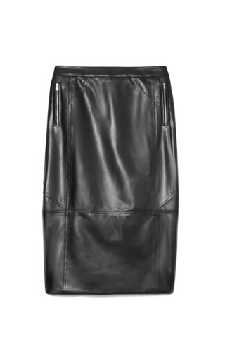 Medium tanya taylor black marta skirt in black leather